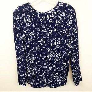 H&M 4 Blouse Long Sleeve Floral Star Blue